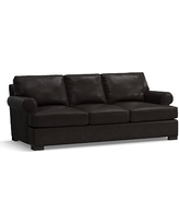 Townsend Roll Arm Leather Sofa, Polyester Wrapped Cushions, Leather Vintage Midnight