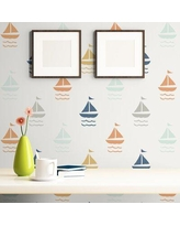 """Breakwater Bay Merlin Boats Baby Removable Peel and Stick Wallpaper Panel X112948229 Size: 24"""" W x 126"""" L"""