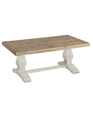 Benjara 19 Inch Coffee Table with Pedestal Base, Brown, White