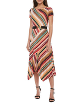Danny & Nicole Short Sleeve Striped High-Low Fit & Flare Dress, 4 , Red