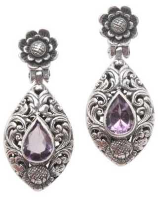 Hand Crafted Amethyst and Sterling Silver Dangle Earrings