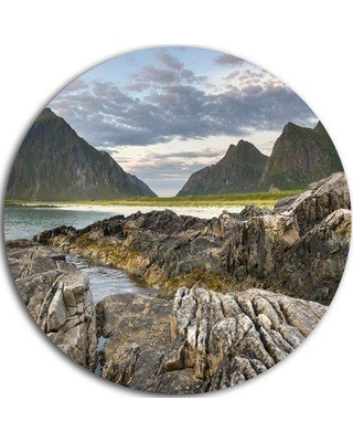 "Design Art 'Rocky Coastline on Lofoten' Photographic Print on Metal MT7171-C Size: 23"" H x 23"" W x 1"" D"