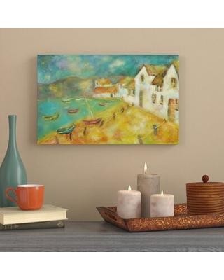 'Boats in Anglesy' Watercolor Painting Print on Wrapped Canvas