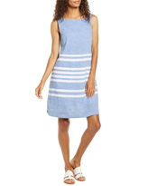 Women's Beachlunchlounge Alina Stripe Linen & Cotton Shift Dress, Size Small - Blue