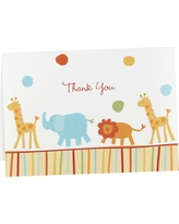 Jungle Baby Animal Baby Shower Thank You Cards (25 count), Multi-Colored