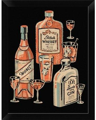 """East Urban Home 'Whiskey Wine and Gin' Framed Graphic Art Print EASN8173 Size: 12"""" H x 9"""" W Format: Black Framed"""