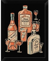 """East Urban Home 'Whiskey Wine and Gin' Framed Graphic Art Print EASN8173 Size: 12"""" H x 9"""" W, Format: Black Framed"""