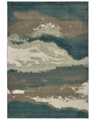 ORIENTAL WEAVERS Matteo Blue/Ivory 8 ft. x 11 ft. Abstract Area Rug, Blue/ Ivory