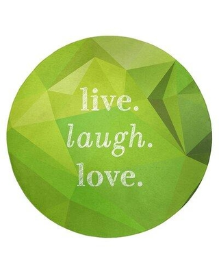 East Urban Home Faux Gemstone Live Laugh Love Quote Poly Chenille Rug FCLS7182 Rug Size: Round 5'
