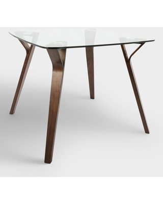 Square Glass And Wood Mid Century Joel Dining Table - Small by World Market
