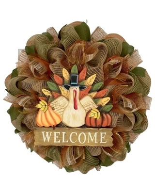 """Welcome Sign Burlap 24"""" Deco Mesh Wreath The Holiday Aisle®"""
