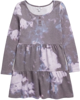 LOVE FIRE Tiered Skater Dress, Size L (14) Us in Burgundy Tie Dye at Nordstrom Rack