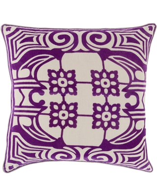 Decorative Allyson Floral Feather Down or Filled Throw 18-inch Throw Pillow (Polyester - Purple)