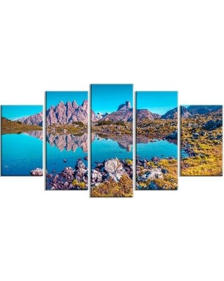 Design Art 'Lago Rienza Ursprung Panorama' 5 Piece Photographic Print on Wrapped Canvas Set, Canvas & Fabric in Brown/Green | Wayfair PT14789-373