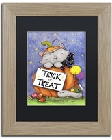 "Trademark Art 'Trick or Treat Kitty' by Jennifer Nilsson Framed Graphic Art ALI3154-T1114BMF / ALI3154-T1620BMF Size: 14"" H x 11"" W x 0.5"" D, Matte Color: Black"