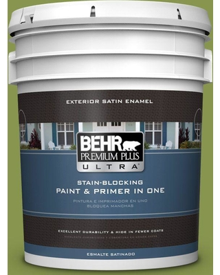 BEHR ULTRA 5 gal. #410D-5 Scotland Isle Satin Enamel Exterior Paint and Primer in One