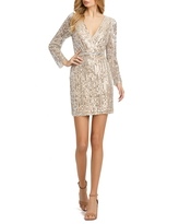 Mac Duggal Sequin Stripe Long Sleeve Cocktail Dress, Size 6 in Nude Silver at Nordstrom
