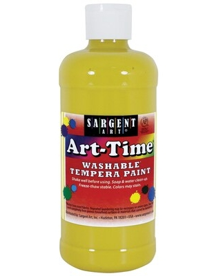 Sargent Art Art-Time Non-Toxic Washable Tempera Paint, 16 oz, Yellow (SAR223402) | Quill