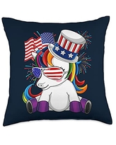 Unicorn Fourth of July - USA Independence Fourth of July - Patriotic Unicorn Throw Pillow, 18x18, Multicolor