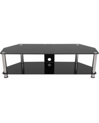 """SDC1400CM-A TV Stand with Cable Management for up to 65"""". Black Glass and Chrome Legs"""