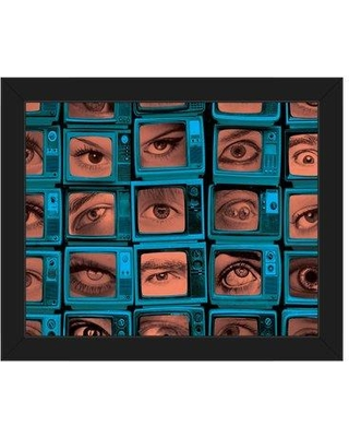 Click Wall Art Always Watching Eyes Framed Graphic Print On Canvas In Blue