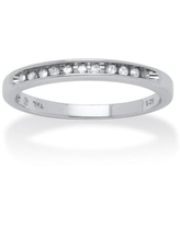 1/10 TCW Round Diamond Platinum over Sterling Silver Anniversary Ring (9)