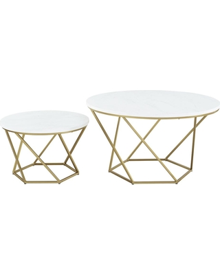 Walker Edison Furniture Company Modern Nesting Coffee Table Set - White Marble/Gold, Faux White Marble/Gold
