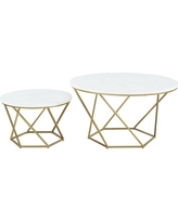 b441023608f48 Walker Edison Furniture Company Geometric Faux White Marble Gold Nesting Coffee  Tables