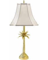 Tropical Palm Tree Brass Table Lamp with Off-White Shade