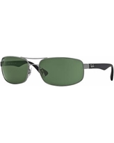Ray-Ban RB3445 61mm Rectangle Sunglasses, Men's, Light Grey
