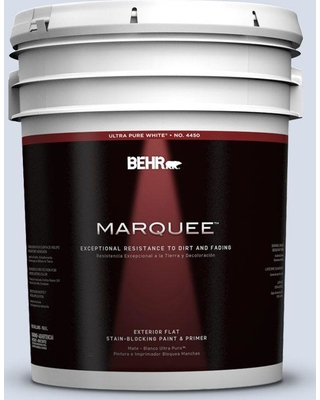 BEHR MARQUEE 5 gal. #590E-2 Snow Ballet Flat Exterior Paint and Primer in One