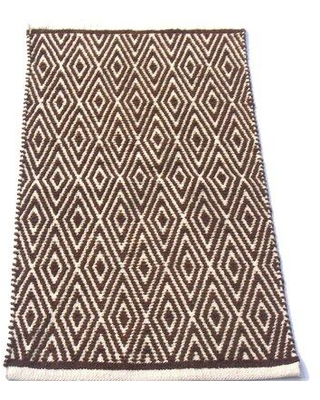 Union Rustic Siems Handwoven Flatweave Brown/White Area Rug X111741617
