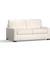Turner Square Arm Upholstered Deluxe Sleeper Sofa without Nailheads, Polyester Wrapped Cushions, Denim Warm White