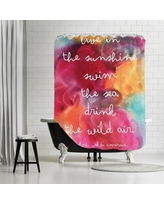 Bungalow Rose Amy Brinkman Live In The Sunshine Watercolor Shower Curtain BNGL2591