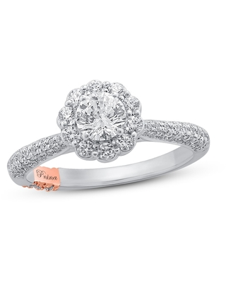 Jared The Galleria Of Jewelry Pnina Tornai Romantic Rose Diamond Engagement Ring 1-1/4 ct tw Round 14K Two-Tone Gold