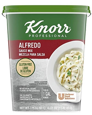 Knorr Professional Alfredo Sauce Mix Made With Real Parmesan Cheese, Gluten Free, No Artificial Colors, Flavors, or Preservatives, 1 lb, Pack of 4
