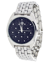 Fortune NYC Ladies Silvertone Case/ Blue CZ Fabric Dial with Silver Strap Watch (Silver, Blue)