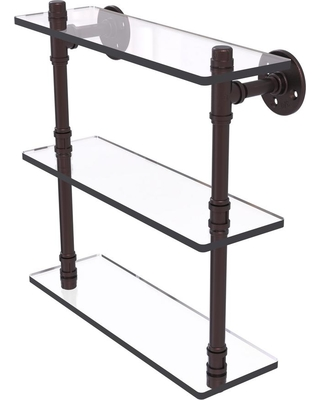 Allied Brass Pipeline Collection 16 in. Triple Glass Shelf in Antique Bronze