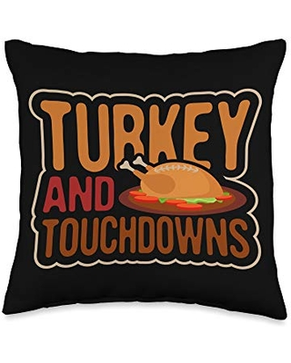 Thanksgiving Shirts - Holiday Gifts Thanksgiving Shirts Turkey & Touchdowns Tees Men Women Kids Throw Pillow, 16x16, Multicolor