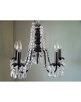"""Silly Bear Lighting Miss Mercedes 5 - Light Shaded Empire Chandelier, Metal in Black, Size 14""""H X 18""""W 