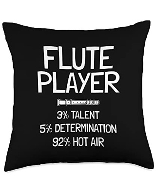 Recorder Flutes - Musical Instrument Gifts Funny Flute Player Saying Throw Pillow, 18x18, Multicolor