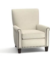 Irving Upholstered Recliner with Bronze Nailheads, Polyester Wrapped Cushions, Basketweave Slub Oatmeal