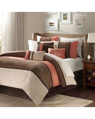 Madison Park Hanover 7-pc. Faux Suede Comforter Set, Beig/Green, Cal King