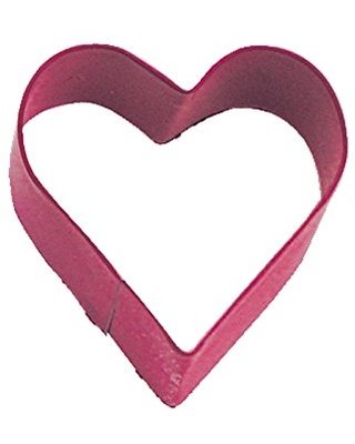 R&M Mini Heart Cookie Cutter Red With Brightly Colored, Durable, Baked-on Polyresin Finish