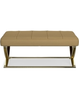 James Large Ottoman, Brass, Faux Suede, Solid, Camel
