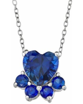 """Sterling Silver Lab-Created Sapphire Dog Paw Necklace, Women's, Size: 18"", Blue"""