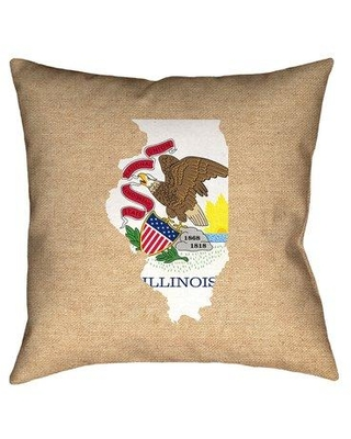 """Ebern Designs Fawcett Illinois Flag Black 28"""" x 28"""" Floor Pillows Double sided print with concealed zipper & Insert in Faux Linen Double Sided Print/Throw Pillow X112320457 Size: 14"""" x 14"""" Color: Brown/Red"""