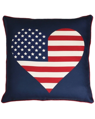 """Décor Therapy 20""""x20"""" Heart Flag Reversible Plaid Printed Faux Linen Throw Pillow Blue"""