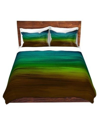 East Urban Home Coastal Sunset Duvet Cover Set X112415373 Size: 1 Queen Duvet Cover + 2 Standard Shams Color: Blue/Green/Brown