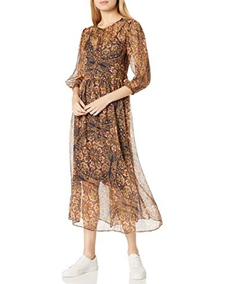 for Love and Liberty Women's Silk Printed Maxi Dress, Multi, L